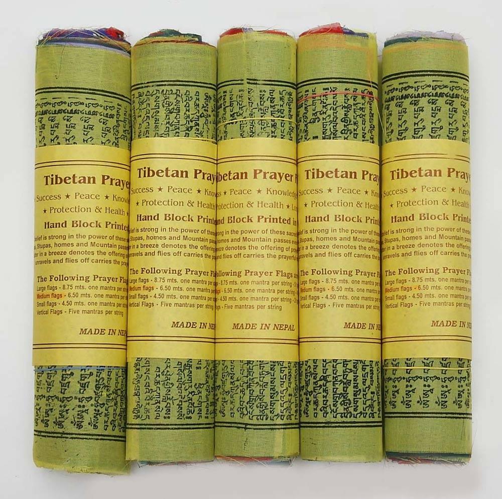 3 ROLLEN JE 25 TIBETISCHE GEBETSFAHNEN 15cm x 15cm Länge 4m  NEPAL PRAYER FLAGS